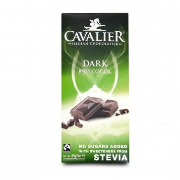 Cavalier No Added Sugar Belgian Dark  Chocolate bar with Stevia 85g