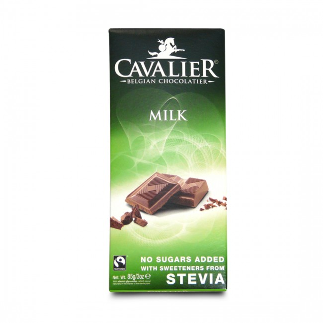 Cavalier No Added Sugar Belgian Milk Chocolate Bar With Stevia 85g